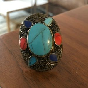 Vintage turquoise/coral/lapis afghan boho ring